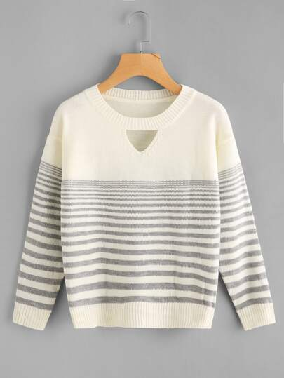 V Cut Striped Knit Sweater