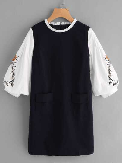 Frilled Neck Contrast Embroidered Lantern Sleeve Dress