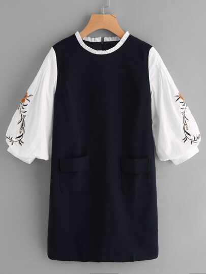فستان العنق الفريد مطرز الفانوس