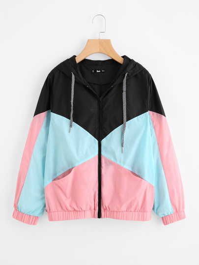 Cut And Sew Hooded Windbreaker Jacket