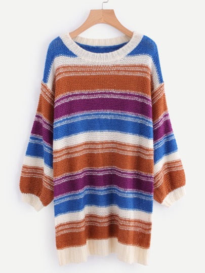 Multi Stripe Drop Shoulder Lantern Sleeve Sweater Dress