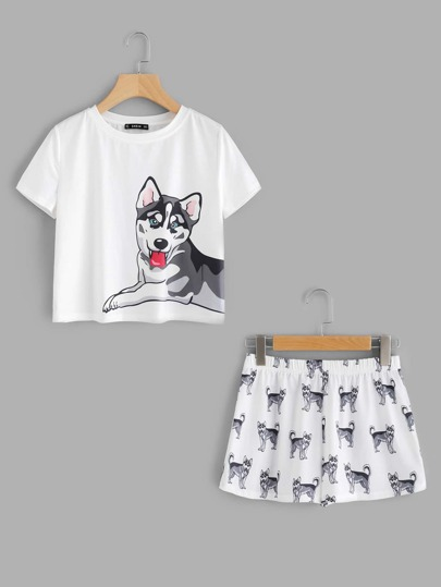 Dog Print Tee & Shorts Pajama Set