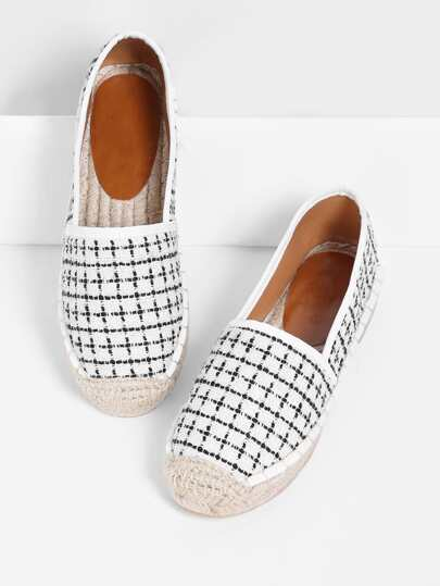 Gingham Design Cap Toe Flats