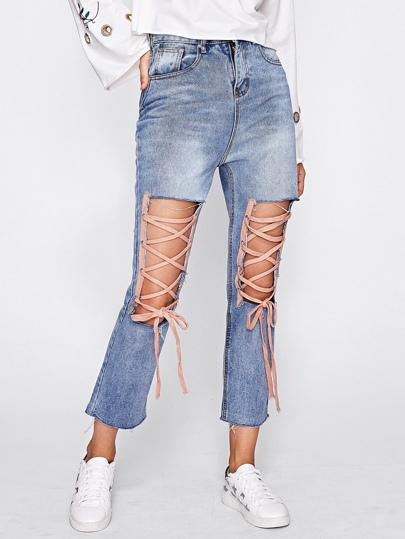 Cut Out Front Lace Up Jeans