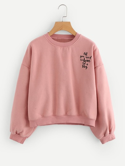 Drop Shoulder Letter Print Sweatshirt