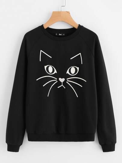 Sweat-shirt avec manche raglan imprimé chat