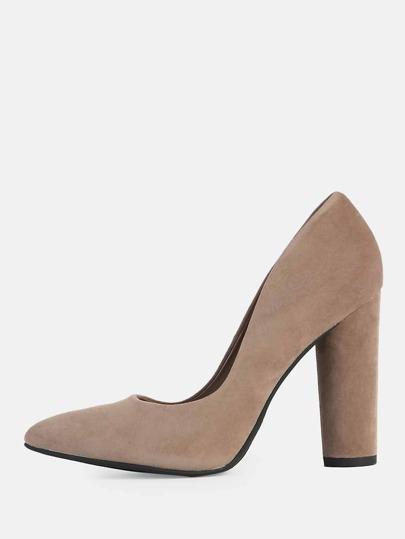Pointy Toe Round Heels CEMENT