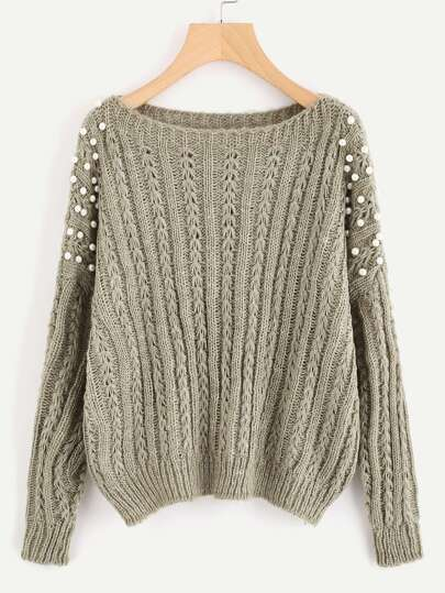 Pearl Embellished Mixed Knit Jumper