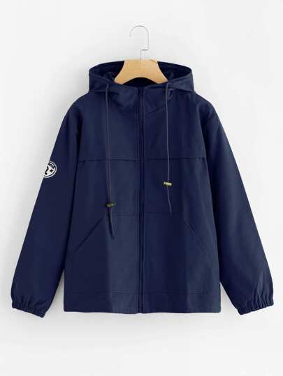 Patch Detail Hooded Anorak