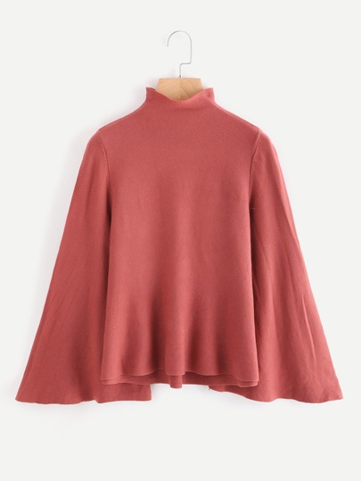 Mock Neck Bell Sleeve Jersey Sweater