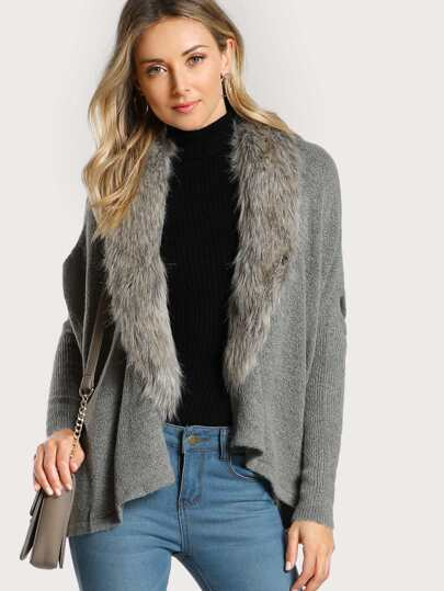 Faux Fur Lined Cardigan GREY