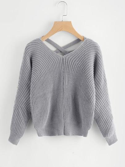 Maglione in maglia con incrocio sul retro