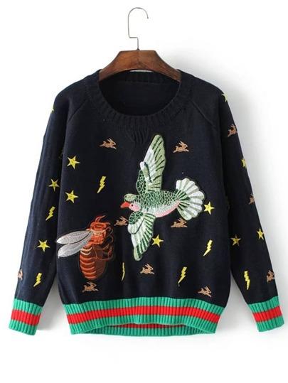 Maglione con ricamo di uccello
