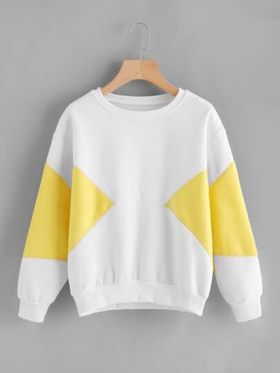 Drop Shoulder Color Block Sweatshirt