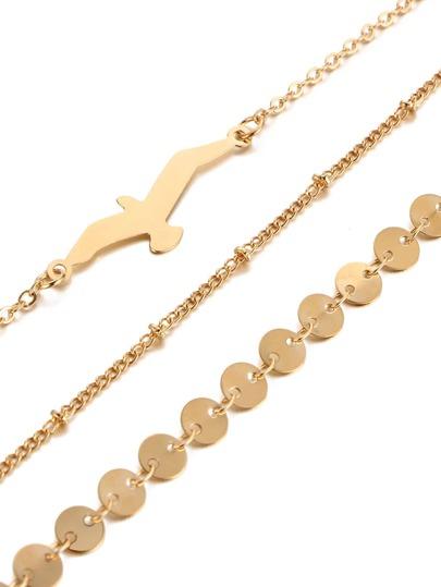 Ensemble de bracelet de chaîne design de l\'oiseau et paillette