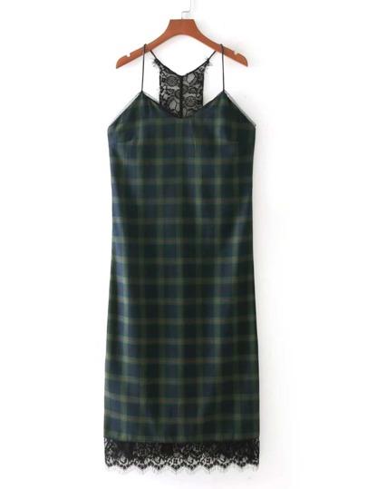 Eyelash Lace Hem Plaid Cami Dress