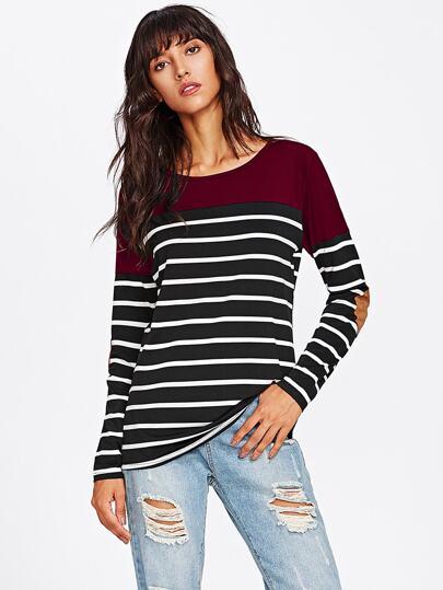 Tee-shirt contrasté à rayures avec pièce de coude