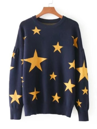 Star Pattern Drop Shoulder Jumper Sweater