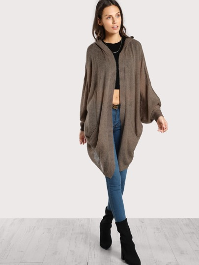 Lightweight Hooded Cardigan MOCHA