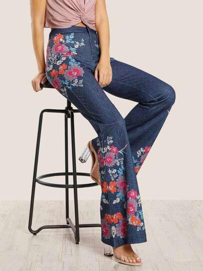 Floral Print Bell Bottom Pants NAVY