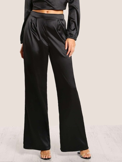 High Rise Satin Pants BLACK