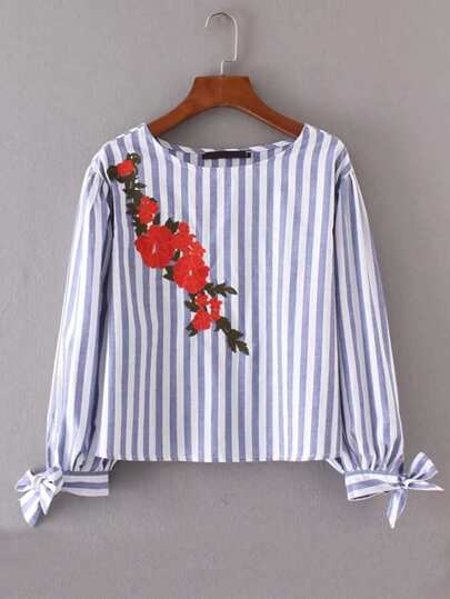 Embroidered Flower Bow Tie Cuff Striped Blouse