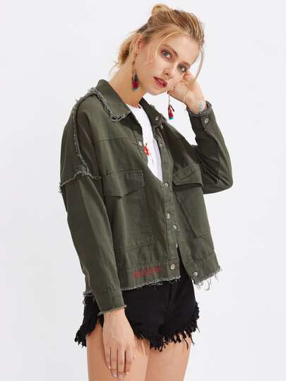Frayed Trim Drop Shoulder Denim Jacket