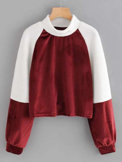Letter Embroidered High Neck Velvet Panel Sweatshirt