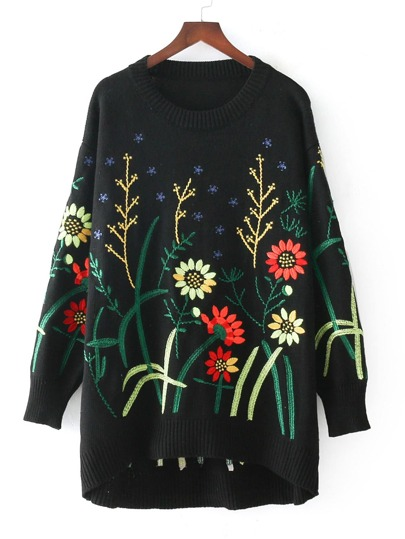 Flower Embroidery Dip Hem Sweater