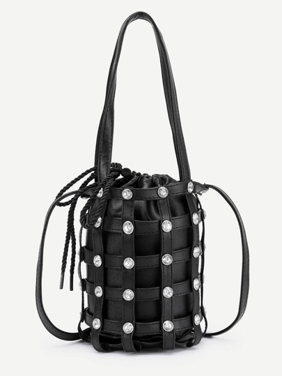 Coin Detail PU Drawstring Bag With Convertible Strap