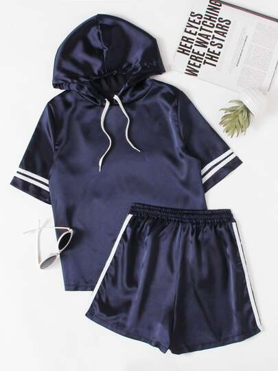 Satin Varsity Striped Hooded Top With Shorts
