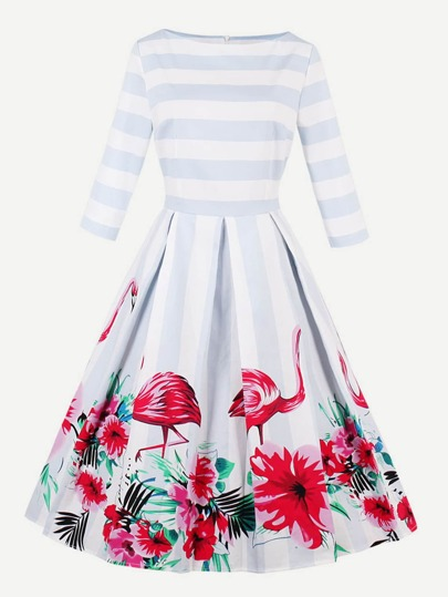 Contrast Stripe Flamingo Print Swing Dress