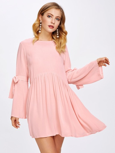 Self Tie Sleeve Babydoll Dress