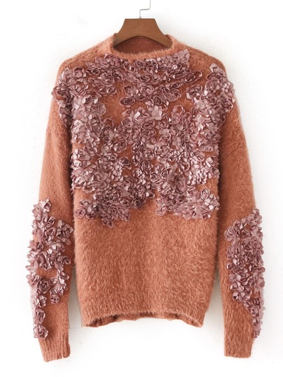 Flower Applique Fuzzy Sweater