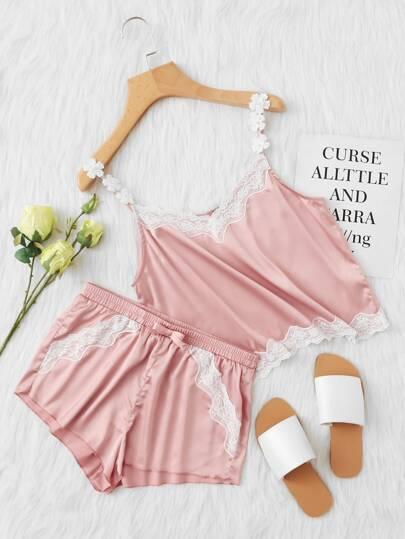 Lace Trim Satin Cami & Shorts PJ Set