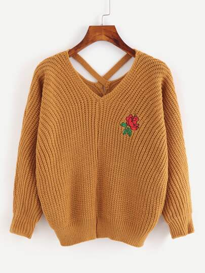Criss Cross Embroidered Chunky Knit Sweater