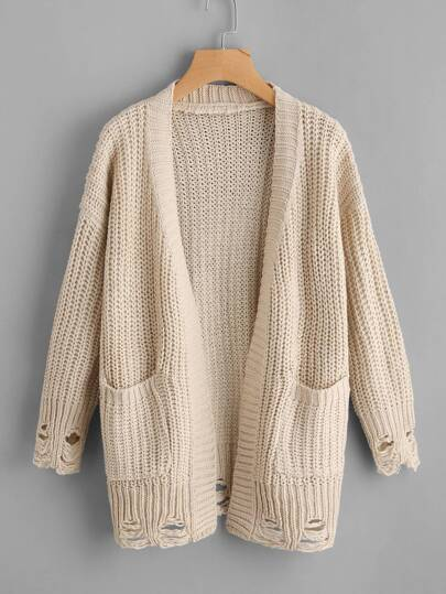 Destroyed Texture Knit Cardigan Sweater