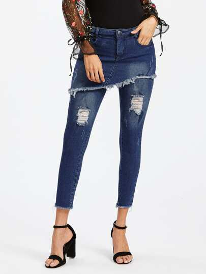 Frayed Hem Skirt Over Jeans