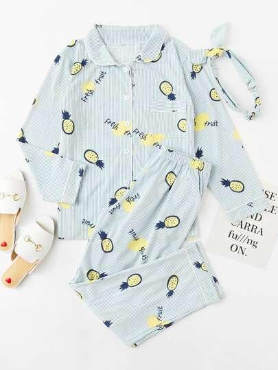pajama Set mit Ananasmuster, Streifen und Stirnband
