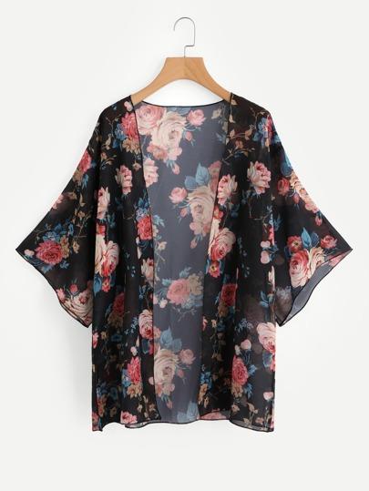 Kimono imprimé fleur ouvert avant