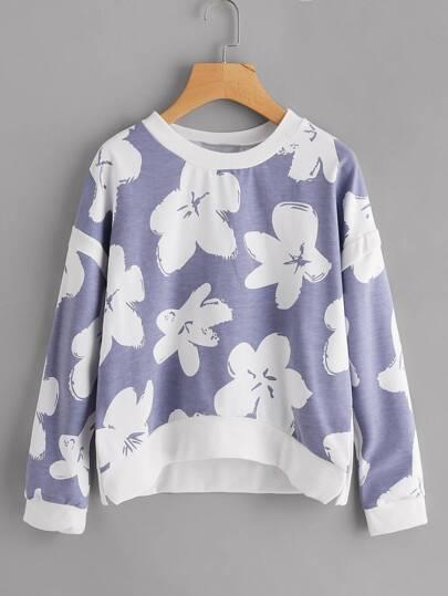 Sweat-shirt trapèze imprimé fleuri avec la chute de l\'épaule
