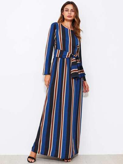 Self Tie Striped Dress
