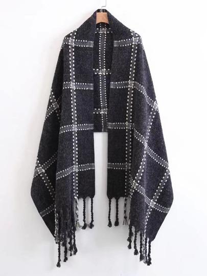 Écharpe découpée à carreaux avec des franges