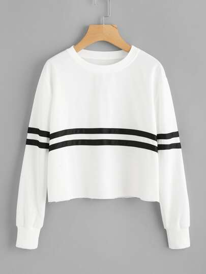 Contrast Striped Raw Hem Sweatshirt