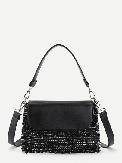 Frayed Edge Detail Shoulder Bag With Handle