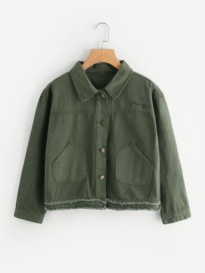Jacke mit doppel aufgefranstem Saum und Stickereien