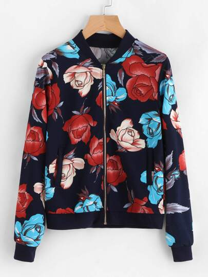 All Over Flower Print Contrast Trim Jacket