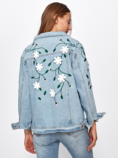 Light Wash Flower Applique Embroidered Denim Jacket