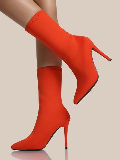 Stretch Knit Point Toe Heels ORANGE