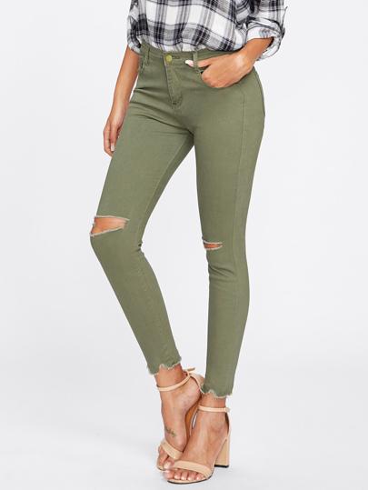 Knee Rips Frayed Hem Jeans